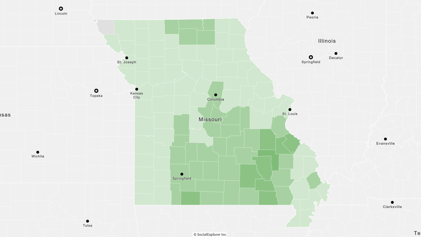 Mixed Forest Coverage in Missouri map