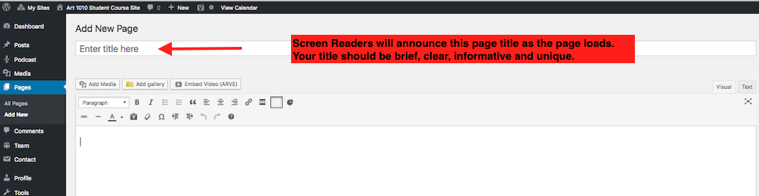 Screen grab showing where to type in title that screen reader will read outloud.