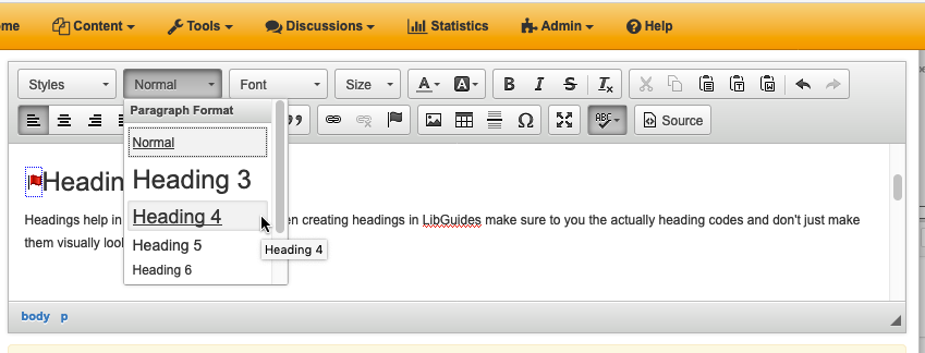 Screen grab showing how to select headings from the drop down menu in the Rich Text/HTML