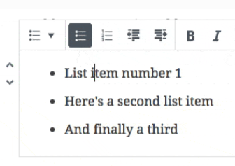 screengrab showing how to add a list in guttenberg