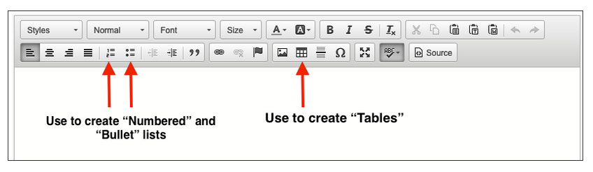 screengrab showing how to create lists or tables in libguides.