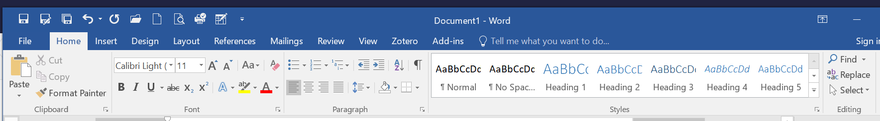 Word 2016 home ribbon to show where to select headings.