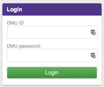 DMU LIBRARY LOGIN SCREEN
