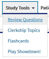 Flashcards are under the Study Tools Menu