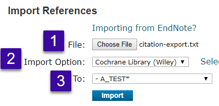 "find file and select import option ""cochrane_library"""