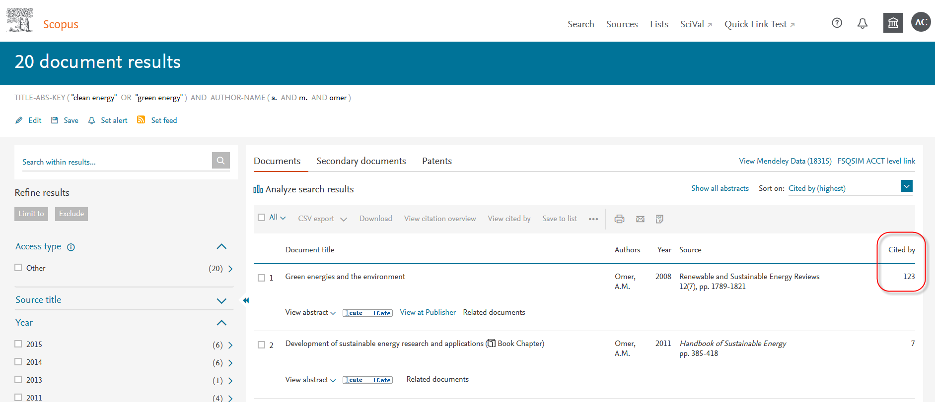 Scopus Search Results with Cited By column highlighted