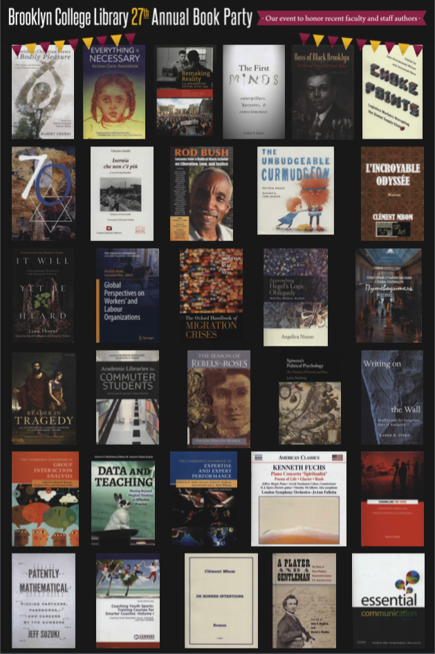 2019 Annual Book Party poster of book covers