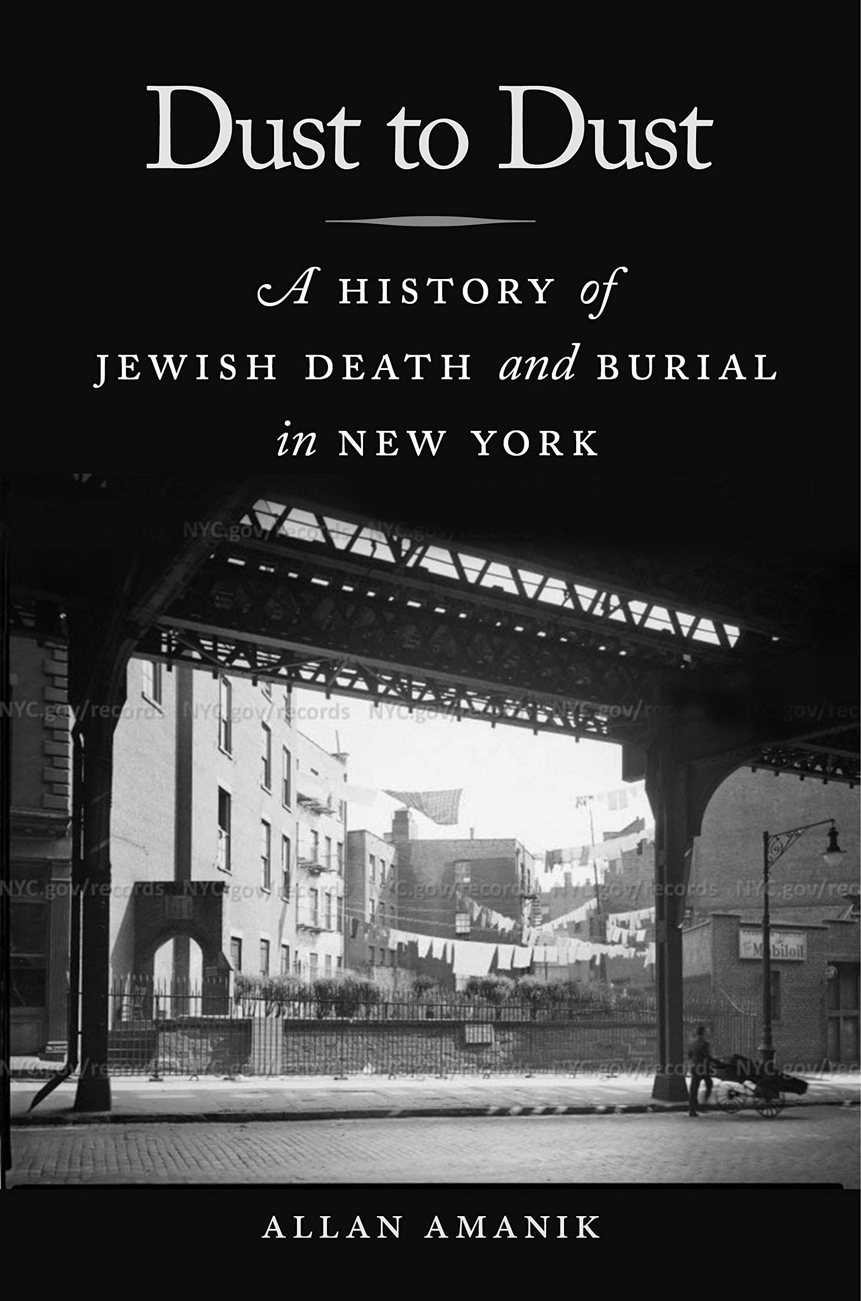 cover of Allan Amanik  Dust to Dust: A History of Jewish Death and Burial in New York. NYU Press, 2019.  F128.9 .J5 A527 2019