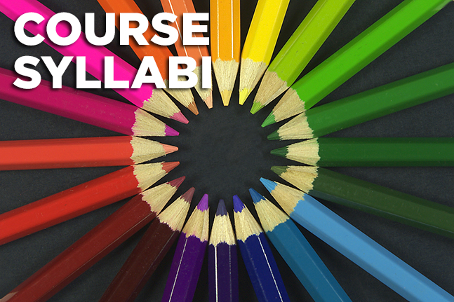 Course syllabi represented by rainbow colored pencils in a circle.