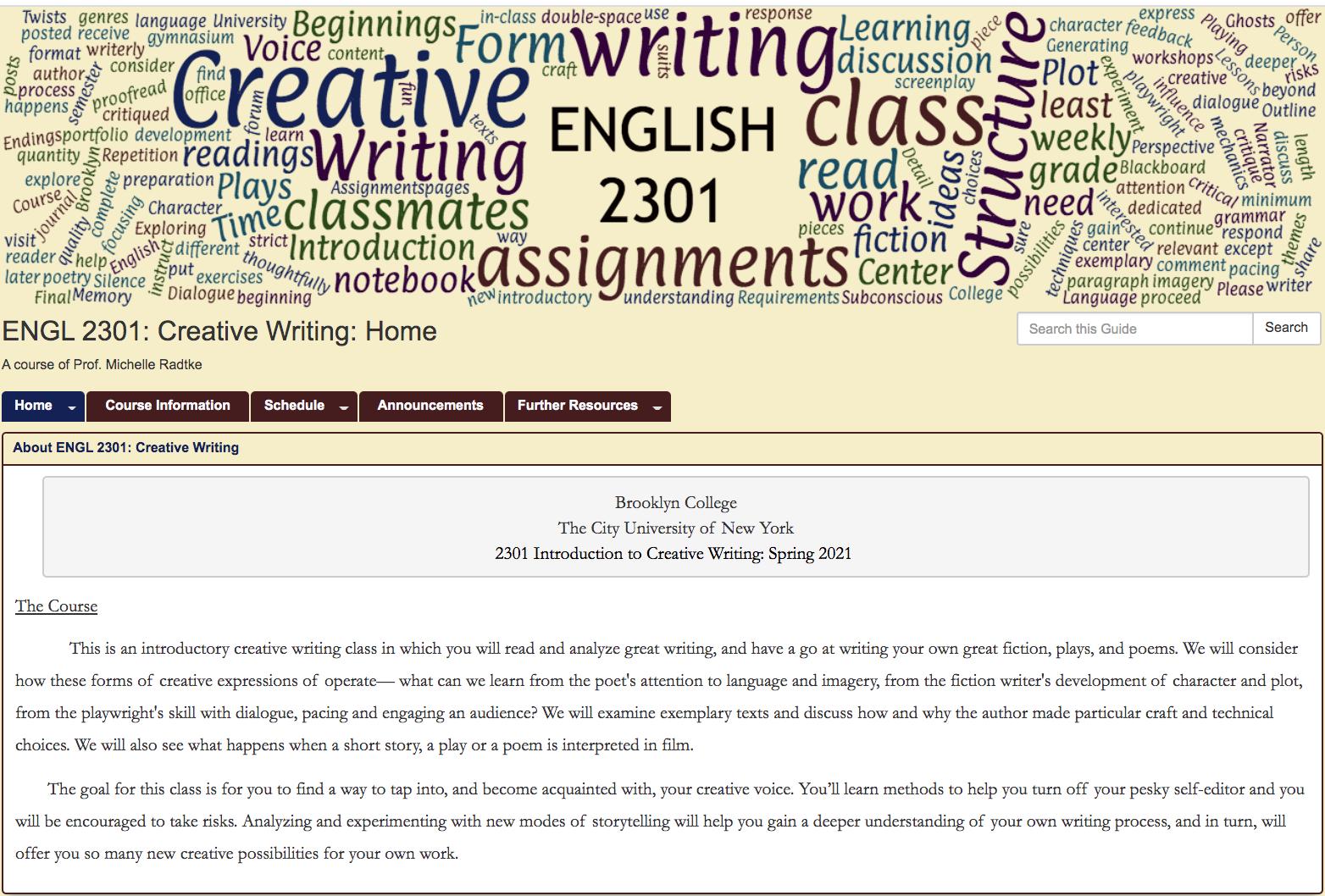 ENGL 2301: Creative Writing