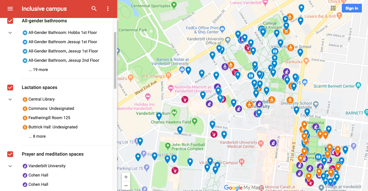 Google Campus Access Amenities map. Click to be taken to google map.