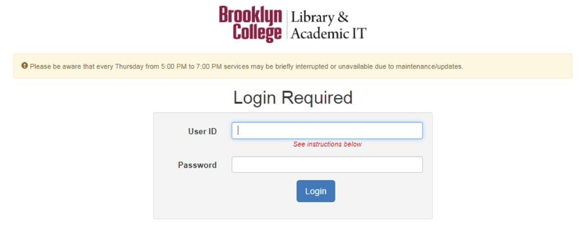 Brooklyn College remote access login page screen grab.