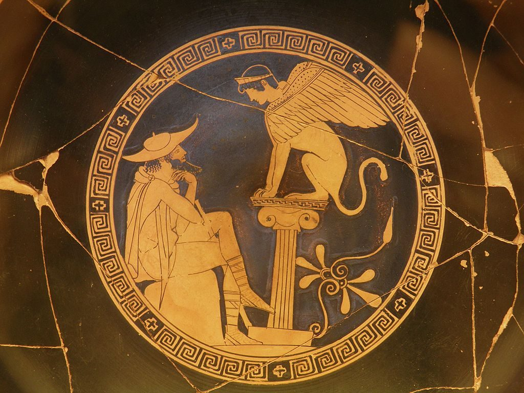 Oedipus and Sphinx, vase painting, link to Sophocles page