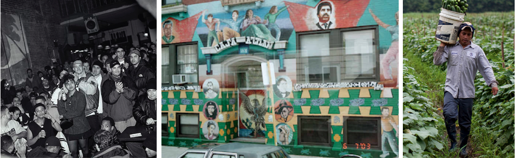 Banner Image created from 3 images: Left: Nuyorican Poets Cafe NYC 1998. Middle: Mural Chicano Movement. Right: Migrant Worker in the field.