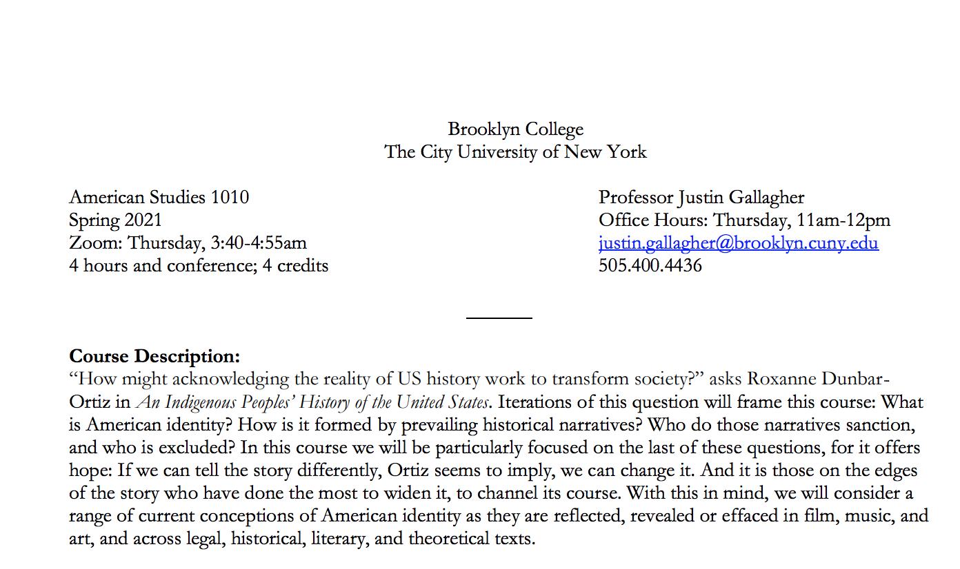 Syllabus for American Studies 1010