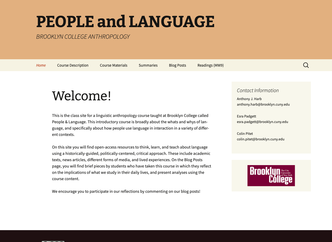 screenshot and link for anth 1300 course site