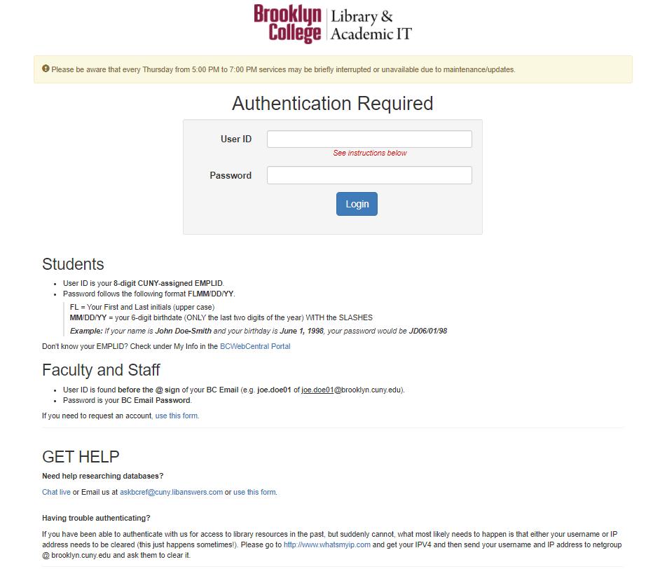 Authorization login screen.
