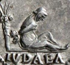 detail of captive judea on Roman coin, link to Tacitus annals 1