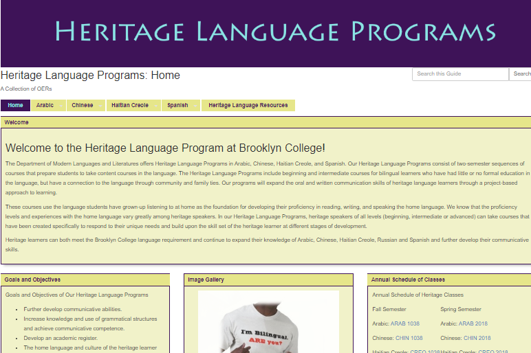 Front page of Heritage languages course site. Clicking on image will take you to Heritage Language subject page..