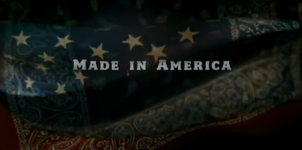Made in America. Blue change into red bandana.