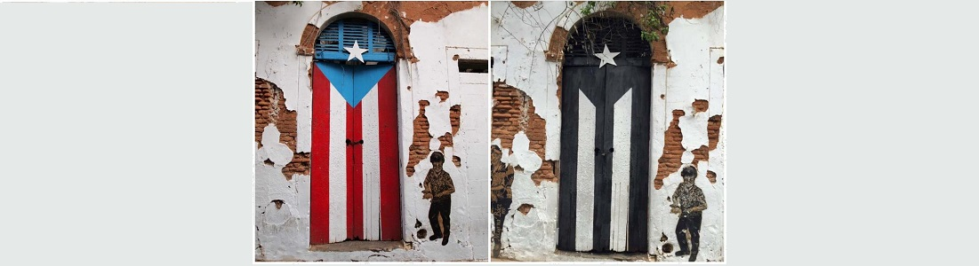 Click goes to PRLS 5710 OER home. Left side: Famous door in Old San Juan showing PR flag consisting of 5 alternate red and white stripes. On the left of the flag is a single white five-pointed star resting in a blue triangle. Right Side: Puerto Rican Protest flag consisting of 5 alternate black and white stripes. On the left side of the flag is a single white five-pointed start resting in a black triangle.