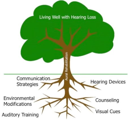Living well with hearing loss graphic - communication strategies, environmental modifications, auditory training, hearing devices, counseling, visual cues