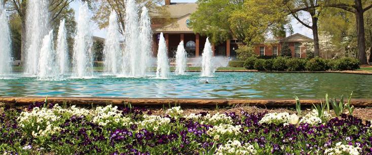 Duke Library scene with spring flowers