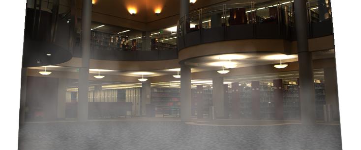 Semi-transparent ghosts, animated across a foggy library atrium scene
