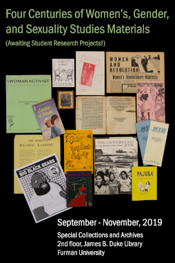 Exhibit: Four Centuries of Women's, Gender, and Sexuality Studies Materials, September through November, on 2nd floor of library in Special Collections