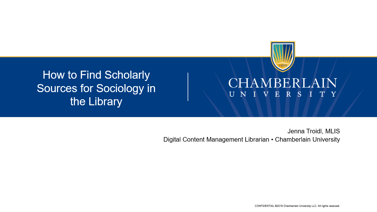 Title slide for How to Find Scholarly Sources for Sociology in the Library video