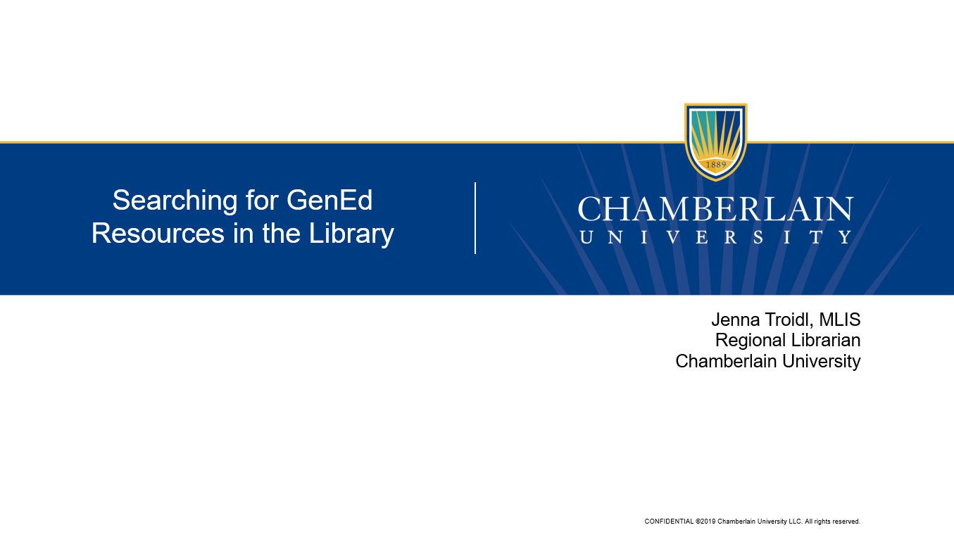 Title slide for Searching for GenEd resources in the library video