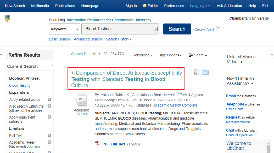 EBSCO search results page with the article title highlighted