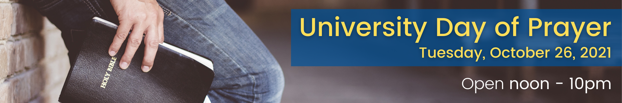 Rolfing will be open noon until 10:00 pm on the University Day of Prayer (October 26, 2021)