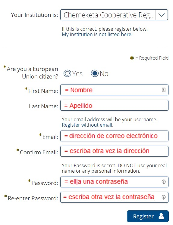 Learning Express registration form with Spanish