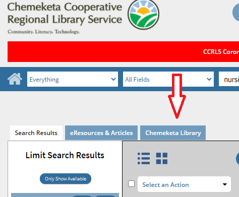 Chemeketa Cooperative Regional Library Service catalog, showng Chemeketa Library tab