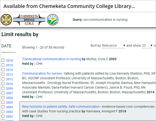 results in Chemeketa Library tab