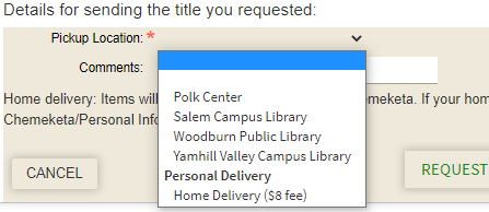 Hold form showing pickup location dropdown menu