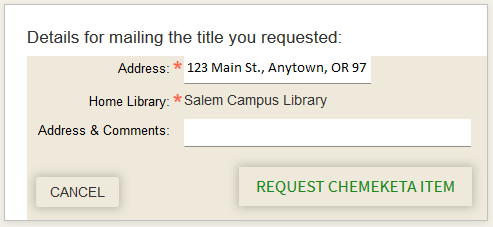 Request form in Primo with address & home library