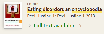 pciture of primo library search record for Eating Disorders: An Encyclopedia