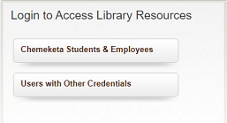 Picture of screen showing button for Chemeketa students and employees to log in