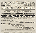 Boston Theatre Broadside from 1857