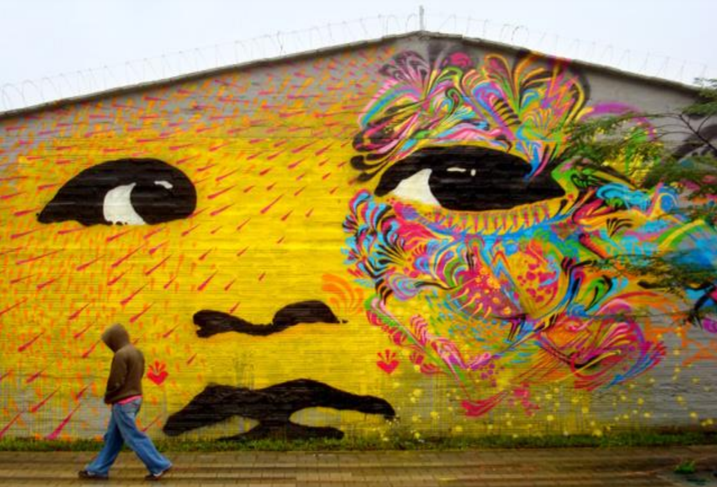 Person Walking In Front Of Wall Mural Of Colorful Face