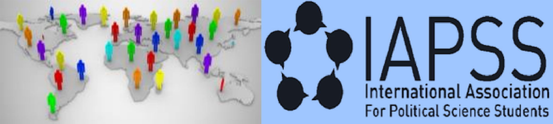 International Association For Political Science Students Logo & World Map With Multi-Colored People Icons