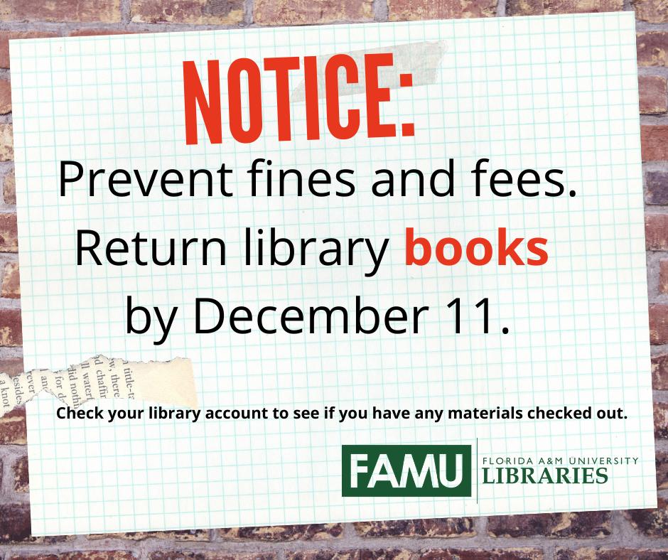 Return books by Dec. 11