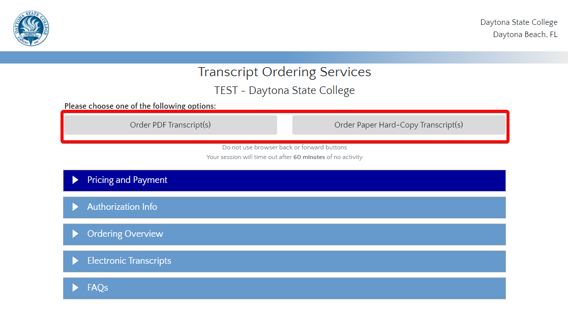 Transcript ordering screen with the order buttons  highlighted