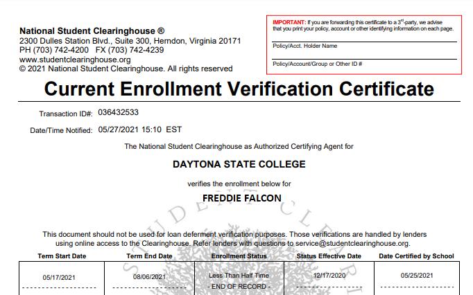 Enrollment Verification Certificate
