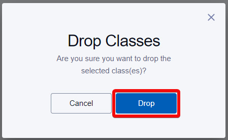 Confirmation screen with drop button highlighted