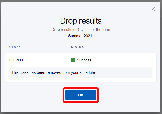 Drop confirmation review screen with OK button highlighted