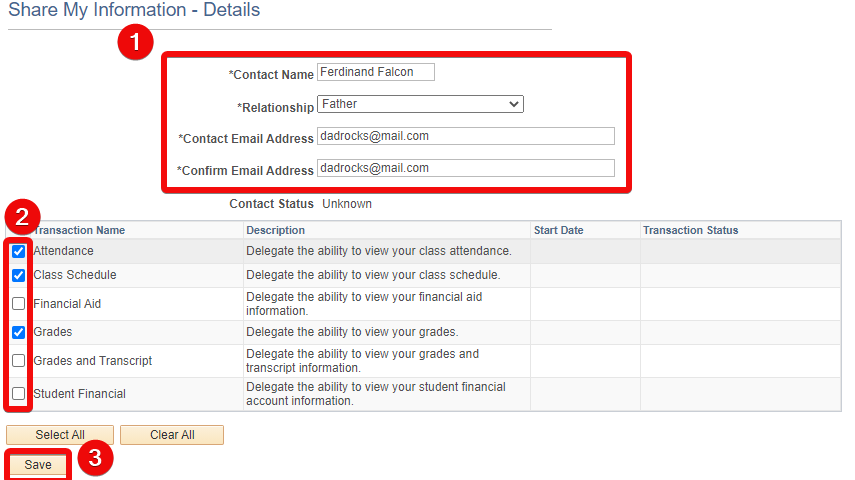 Contact details screen with details, sharing checkboxes and save button highlighted