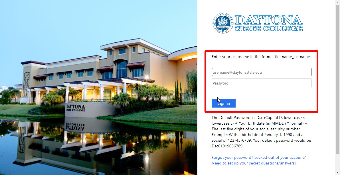 Daytona State Login Page With the username, password and sign in button highlighted